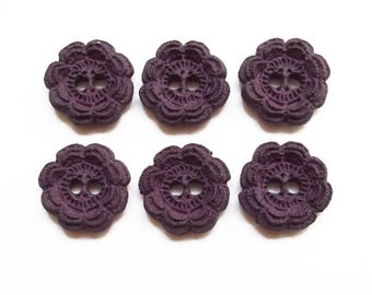 6 buttons 22 mm purple flowers / top quality