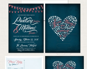 Navy Blue Chalkboard Wedding Invitation RSVP Some things are meant to be String Light Twinkle Lights invitation heart quote  DEPOSIT Payment