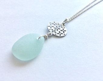 Seafoam sea glass filigree drop necklace - sea glass necklace with silver filigree, seaglass pendant necklace