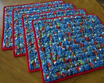 QUILTED BLUEBONNET PLACEMATS, Set of 4