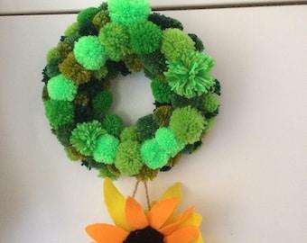Pompom Garden Wreath