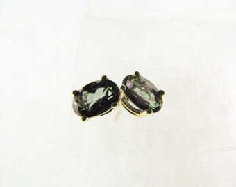 Oval Topaz Stud Earrings Rainbow Mystic Topaz Earrings 10K Gold Topaz Stud Earrings Post Gemstone Studs in 10K Solid Gold
