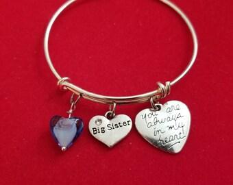 Silver Glass Heart Big Sister Charm Bracelet