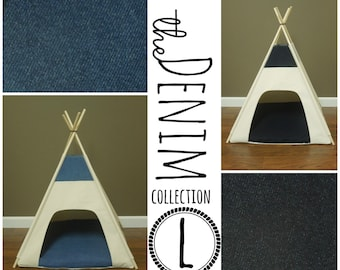"Dog Teepee Pet Tent - Large 36"" base - The Denim Collection - choose light or dark wash - Available in ALL sizes!"
