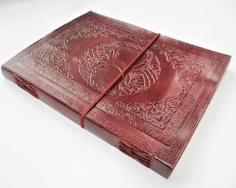 A4 Tree of Life Journal, Mandala Leather Journal, Refillable Journal, Large Journal, Leather Notebook, Scrapbook, Diary, Sketchbook.
