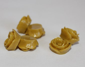 10 SMALL ROSE Cabochons - 12mm - Muted Mustard Color