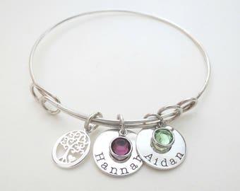 Personalized Family Tree Bracelet with Birthstone - Mothers Bracelet - Grandma - Son - Personalized Jewelry - Daughter - Custom - Grandkids