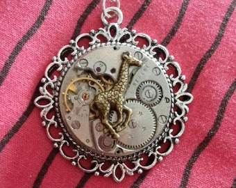 long necklace steampunk gears silver watch with giraffe animal Africa