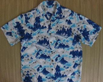 Hawaiian Shirt IOLANI Classic Vintage Aloha Shirt Asian Inspired Road to Hana Waterfall Maui Paradise Mens Camp - M - Oahu Lew's Shirt Shack