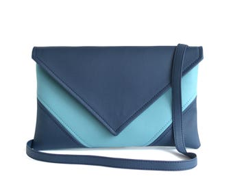 Vegan Leather Handbag Navy Blue Wristlet Clutch Bag Bridesmaid Clutch Purse Gifts For Her Faux Leather Handbags Blue Crossbody Bags Casual