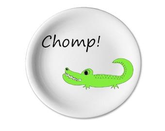 Kids alligator crocodile plate ceramic pottery dinner plate children's personalized plate safari zoo jungle 11 inch dinner plate