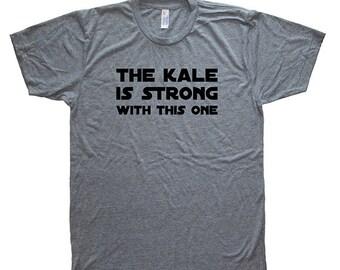 Lustige Mens Kale Shirt - vegetarische vegane Feinschmecker Gemüse T-Shirt - Herren / Unisex Tri Mischung Heather Gray - Hand gedruckten Größe S M L XL