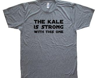 Funny Mens Kale Shirt - Vegetarian Vegan Foodie Vegetable T Shirt - Mens / Unisex Tri Blend Heather Gray - Hand Printed Size S M L XL