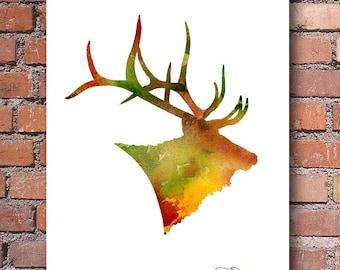 Elk Art Print - Abstract Watercolor Painting - Wall Decor
