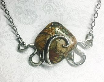 Fork Necklace, Mosaic Jasper, Fork Pendant, Silverware Jewelry