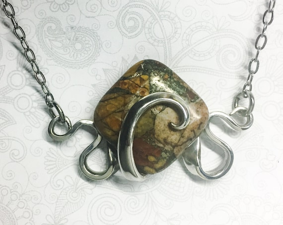 Fork Necklace, Mosaic Jasper, Silverware Jewelry