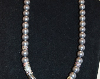 Crystal and Metal Rondell Necklace