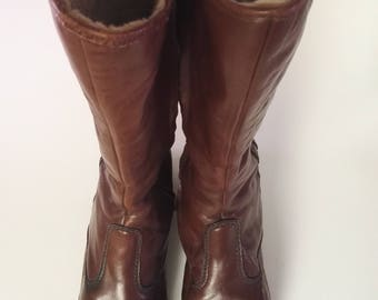 Vintage 50s REX brown leather winter boots Extra vid size UK4 EU36 US6