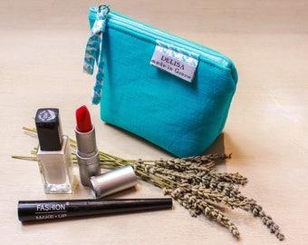 Mini turquoise blue linen zipper pouch . Lavender pouch. Lipstick case. Small makeup bag. Coin purse. Mini zipper. Cosmetic pouch