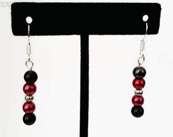 Black & Garnet Glass Pearl Earrings
