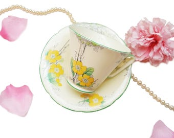 Royal Grafton Teacup with Yellow Flowers, Art Deco, Hand Painted, Collectible Tea Cup, Gift for Her