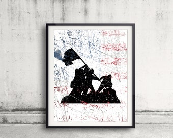 Soldier Art Print Military Tribute First Responder Painting American Flag Soldier Silhoutte Poster Fallen Soldier US Firefighter Gift Idea
