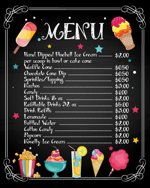Editable Chalkboard Sweets Menu Icecream Menu Printable