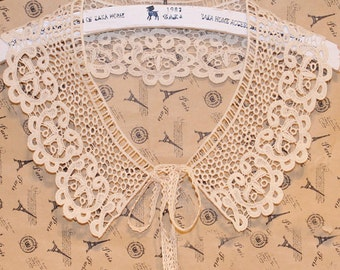 Lace Applique Beige Cotton Collar Altered Clothin Sewing Embellishing Embroidered 4.33'' width 1pc