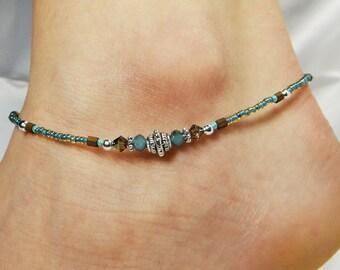 Anklet, Ankle Bracelet Skyblue Anklet, Southwestern Anklet, Blue Anklet, Crystal Anklet, Beaded Anklet Minimalist Anklet Boho Anklet