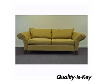 Vintage Ethan Allen USA American Traditional Style Rolled Arm Sofa Couch