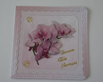 Orchid branch card in 3 sizes