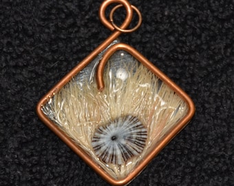 Handmade pendant with recycled copper, pressed flower and seashell