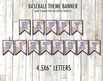 BASEBALL BIRTHDAY BANNER   Baseball Theme Banner   Digital/Printable