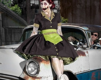 Zombie Pinup Car Hop Retro 50s Waitress Dress Apron and Hat  Womens Adult Girls Halloween Costume Custom Size Plus Sizes Brown Green