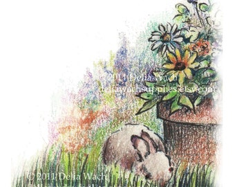Sunflower Bunny Crafting Supplies - Perfect for Notes- Digital Collage Sheets - Elements of Collage
