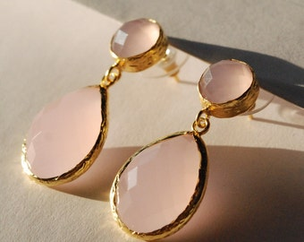 Pink Quartz Dangle Earrings