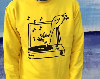 Record Vinyl Jumper, Music Sweater, Yellow Bird Jumper, Screenprinted Jumper, Record Player Print, Bird Print, Fun Bird Clothing