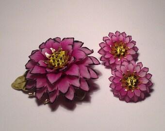 Fabulous Vibrant Purple Flower Pin and Clip Earrings