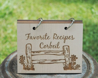 Country Farm Fence Design with Carved Initials and Family Name Recipe Card Book Retro Design, Newlywed, Wedding, Housewarming Gift,