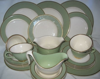Taylor Smith Taylor Heritage Celadon Green China With Gold Trim White Center/Taylor Smith Taylor Dinnerware/Vintage China/Kitchenware