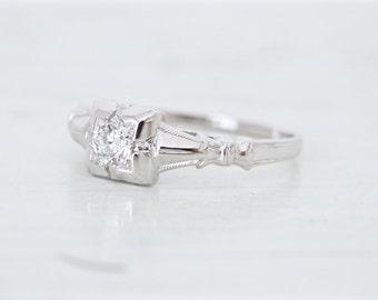 Antique Engagement Ring | Art Deco Ring | 18k White Gold Ring | Vintage Diamond Ring | Dainty Ring | 1920s Wedding Ring | Size 6.25