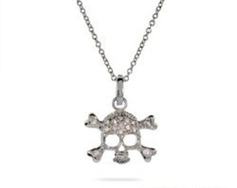 Celebrity Style Pave CZ Skull and Crossbones Necklace - 25% Off Coupon Code: SHOPATLUXE4FAVORITES