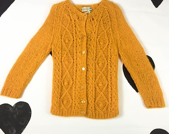 60's day glow orange fluffy knit wool cardigan 1960's warm bright neon button up cardigan sweater / preppy / kitsch / Carina made in Italy M