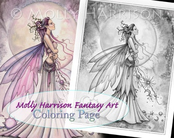 Ziarre - Digital Stamp - Printable - Flower Fairy Art - Molly Harrison Fantasy Art - Digistamp Coloring Page 8.5 x 11 - Digi Stamp
