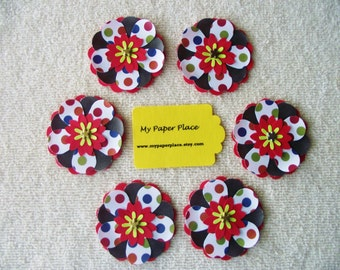 6 -Red and Brown Polka Dot -  2 INCH PAPER FLOWERS - Free Secondary Shipping