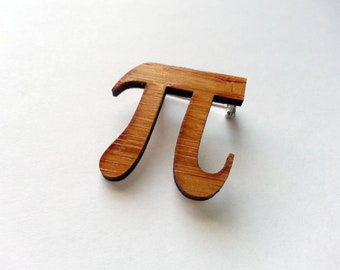 Pi Pin, Brooch, Jewelry in Bamboo 3.14159265 Pi Day