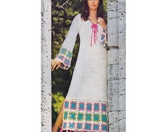 Crochet Dress Pattern Granny Square Trim Maxi Dress Crochet Pattern Vintage Caftan Beach Dress Bell Sleeves PDF Download Womens 6 to 12 C157