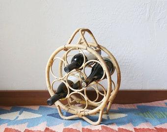 Vintage Round Rattan Wine Rack