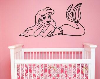 Little Mermaid Wall Decal Princess Ariel Vinyl Sticker Disney Art Decorations for Home Girl Baby Room Bedroom Bathroom Cartoon Decor lmer3