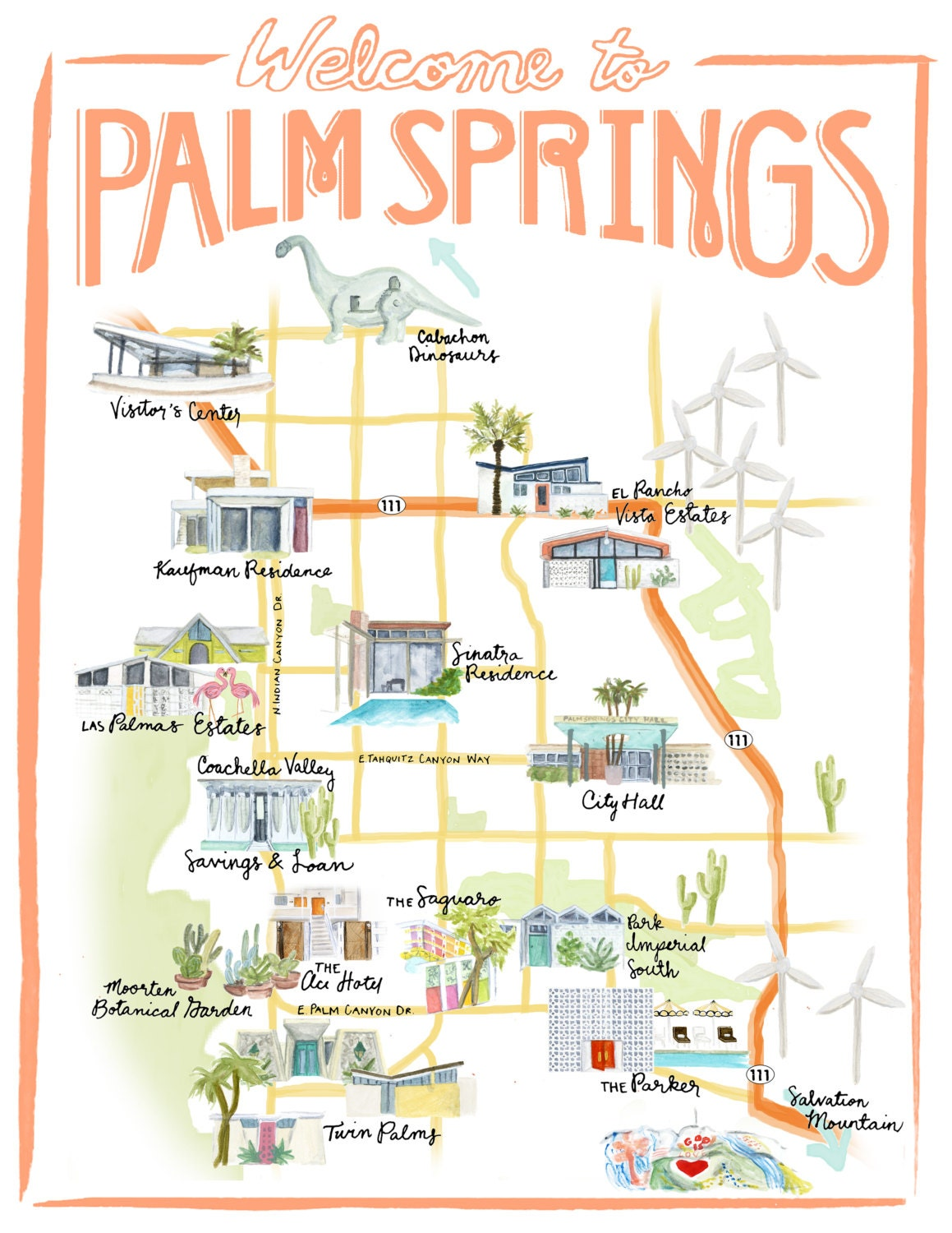Palm Springs California Illustrated Travel Map print of an